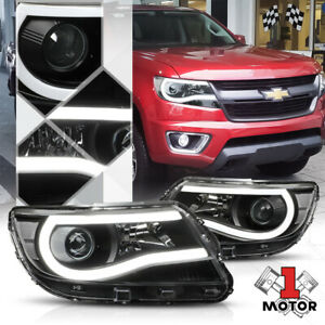 Black Projector Headlight led C bar Drl Clear Signal For 15 20 Chevy Colorado