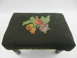 Antique Needlepoint Floral Foot Stool Bench Vintage Handmade