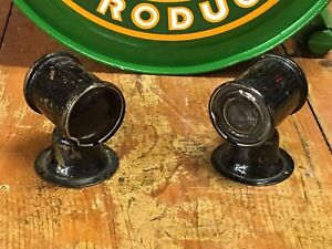 Nos Pair Red Clear Unique Marker Parking Light Vintage Truck Car Old Brass Auto