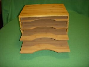 File Organizer Mail Sorter With Four Adjustable Dividers Natural Bamboo Wood