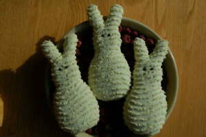 Primitive Easter Yellow Chenille Marshmallow Bunny Ornies