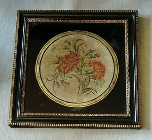 19th Century Victorian Chrysanthemums Needlepoint Picture With Frame