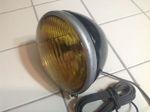 Vintage Fog Lamp B l c 524 a 5 3 4 Early Auto Truck Amber Glass Lens