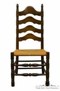 Ethan Allen Antiqued Pine Old Tavern Ladderback Dining Side Chair W Rush Seat