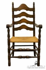 Ethan Allen Antiqued Pine Old Tavern Ladderback Dining Arm Chair W Rush Seat