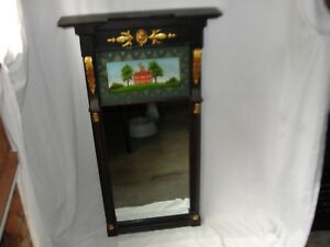 Restored Antique American Federal Reverse Painted Carved Mahogany Mirror