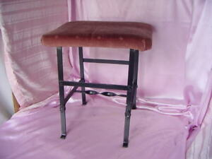 Vintage Deco Arts Craft Mission Era Stool Bench Metal Frame Upholstered Seat