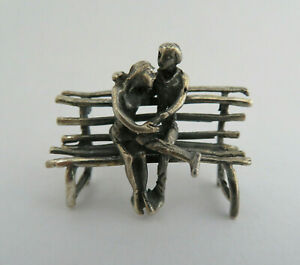 Miniature European 800 Solid Silver Lovers On A Park Bench Figurine