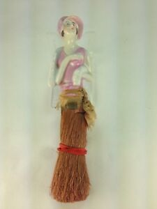 Antique Germany Porcelain Half Doll Flapper Small Whisk Broom