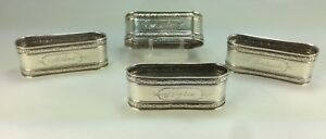Antique Set Of Four Webster Sterling Silver Napkin Rings Long Oval