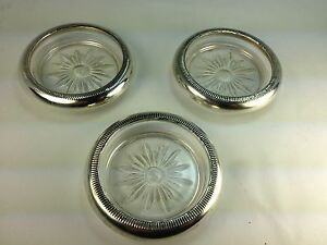 Vintage Crown Co Sterling Silver Glass 3 Coasters