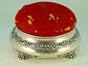 Victorian Tiffany Co Makers Sterling Silver Pin Cushion Sewing Jewelry Box