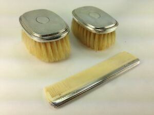 Antique Gorham Sterling Silver Child S Two Brushes Comb Grooming Set