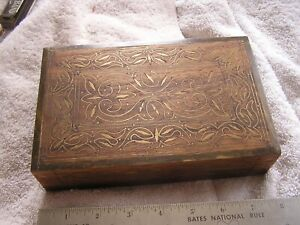 Antique Wood Trinket Box With Inlay