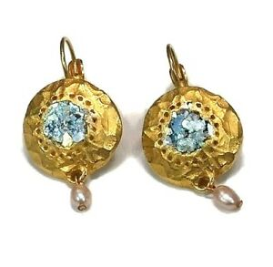 Roman Glass Gold Earrings Ancient Fragments 200 B C Bluish Patina Israel Jewel