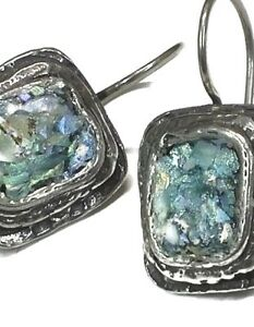 Roman Glass S Silver Earrings 925 Ancient Patina 200 B C Israeli Silver Jewelry