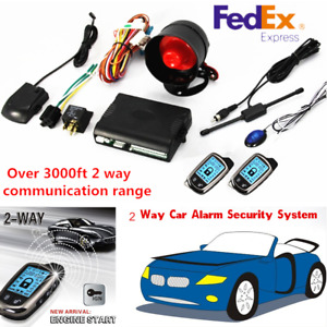 2 way Car Alarm Security System Keyless Entry W 2 Lcd Long Distance Controllers
