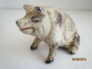 Antique Iron Piggy Still Bank With Some Of Its Original Paint A Sitting Pig