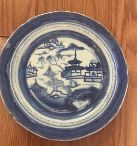 Vintage Blue White Plate Chinese Export Canton Porcelain 7 1 2 Plate