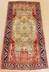 Persian Luri Rug Tribal Hand Knotted Wool Beige Blue Oriental Carpet 5 X 10