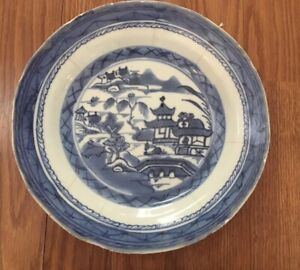 Vintage Blue White Plate Chinese Export Canton Porcelain 9 Bowl