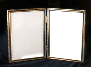 Vintage Brass Picture Frame Thin Classic Double 5 X 7 W Glass