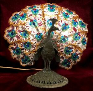 Rare Czech Bronze Peacock Base Beaded Tail Feathers Bodouir Lamp Glorious