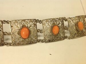 19 20th Chinese Filigree Silver With Coral Beads Bracelet
