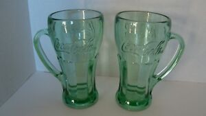 Pair Of Libbey Green Glass Coca Cola Mugs