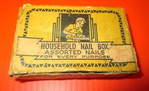 Vintage 5 Ounce 10 Cent Box With Assorted Small Household Nails Chas Fbaker