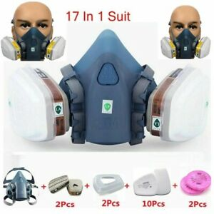 Respirator Mask 17 In 1 Suit Industry Painting Spray Dust Gas Half Face Mask New