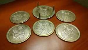 Lot Of 5 Vintage Pineapple Design Silverplate Coasters With Holder