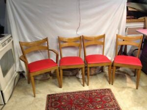 Set Of 4 Mid Century Modern Heywood Wakefield Champagne Dining Chairs