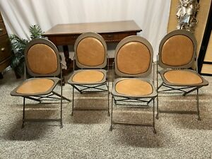 Vtg Industrial Metal Folding Chairs Hostess 1940 S Brewer Titchener Small Space