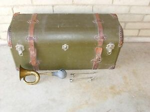 Vintage Trunk Brass Horn And Attachments