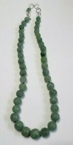 Vintage Carved Chinese Green Jadeite Jade Bead Necklace With Sterling Silver