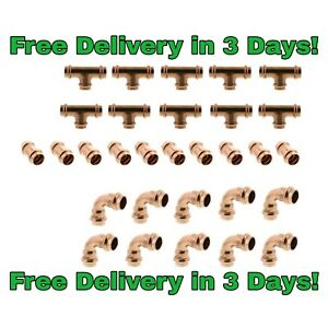 lot Of 30 1 2 Propress Copper Fittings tees Elbows Coupling Free Shipping