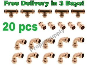 lot Of 20 3 4 Propress Copper Fittings tees Elbows Coupling Free Shipping