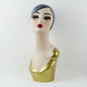 Female Mannequin Head Display Fiberglass Hat Necklaces Earrings Jewelry Model04