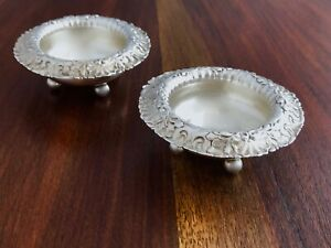 2 Whiting Mfg Co Sterling Silver Salt Cellars Repousse Decoration 3812