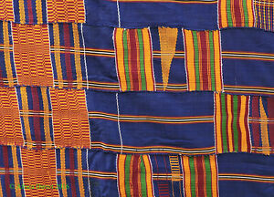 Kente Cloth Asante Handwoven Blue Textile Ghana African Art
