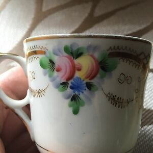 Antique Imperial Russian Kuznetsov Porcelain Cup Only Bone China Gild
