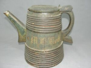 Antique 19th Cent Norwegian Painted Wooden Ale Tankard Treen Tutekane Dated 1879