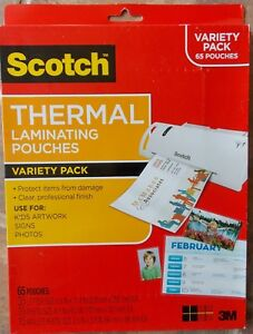 Scotch Brand Thermal Laminating Pouches Variety Pack 65 Ct New