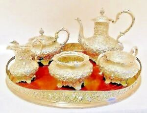 A Magnificent Repousse Sterling Tea Coffee Service Jacobi Jenkins Baltimor