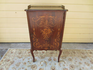 Antique English Mahogany Sheet Music Cabinet With Gorgeous Inlay