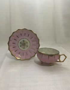 Royal Sealy China Cup And Saucer Beehive Pattern Pink And Gold Iridescent