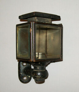 Antique Vtg Ca 1900s Small Head Lamp Tail Light Electric Bevel Glass Brass Age
