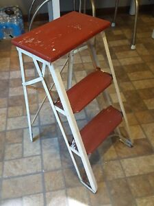 Vintage Antique Two Step Wood Metal Folding Step Ladder Red White 25 Tall