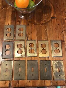 Lot Of 12 Vintage Brass Covers Outlet Light Switch And Assorted Others
